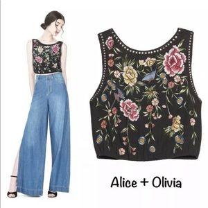 "Alice + Olivia ""Arra"" embroidered crop top 10"